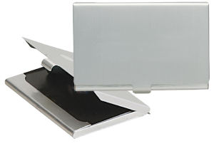 Aluminum business card holder.