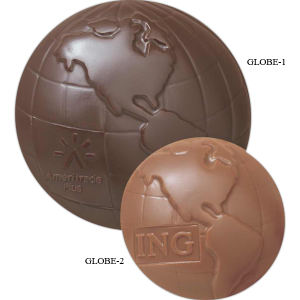 Molded chocolate globe with
