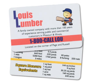 Laminated metric conversion card,