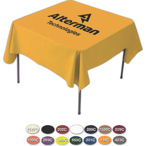 Card draped table cover,