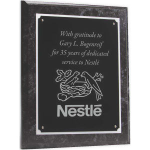 Wood plaque with black