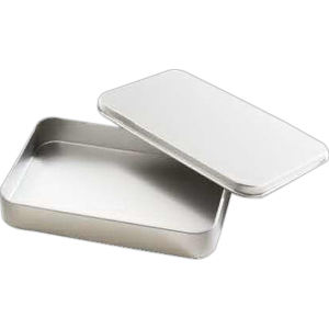 Silver tin box with