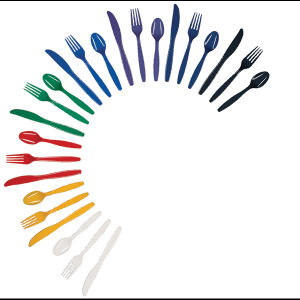 Unimprinted, colored plastic fork.