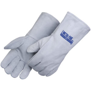 Gray leather welder gloves