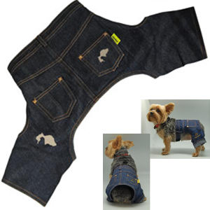 Dog denim jeans.