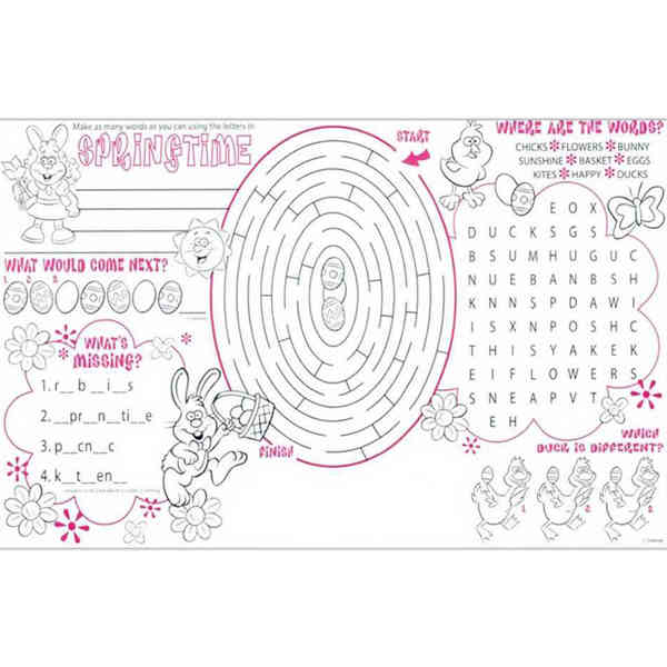 Springtime activity placemat with