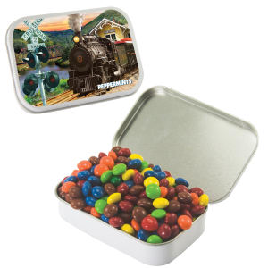 Large hinged candy tin