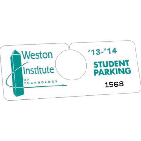 Plastic hanging parking permits