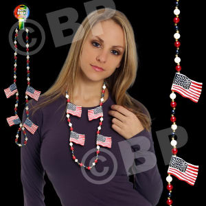 USA flag beaded necklace,
