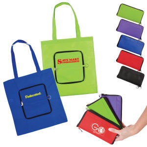Foldable tote zips into