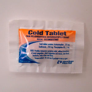 Cold tablets, 2. Blank.