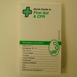 First aid guide. Blank.