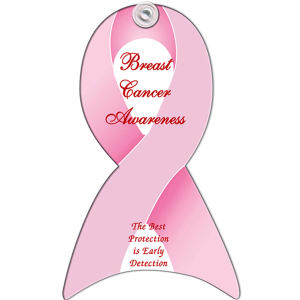 Pink ribbon design, window